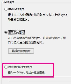 """Lync""""我的图片""""选项窗口部分的屏幕截图,其中已突出显示""""从网站选择图片"""""""