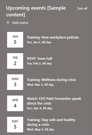 包含事件列表和日期的事件 Web 部件。