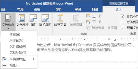 """""""页眉和页脚工具""""选项卡上显示""""文档信息""""选项。"""