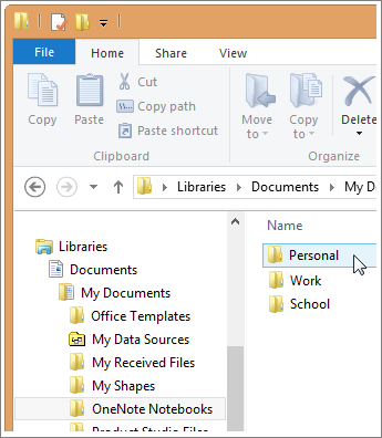 在文件资源管理器中导航到 OneNote 文件夹