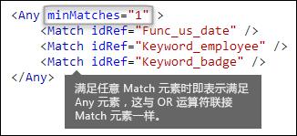 XML 标记,显示具有 minMatches 属性的 Any 元素