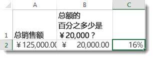 单元格 A2 中为 ¥1,250,000;单元格 B2 中为 ¥200,000;单元格 C2 中为 16%