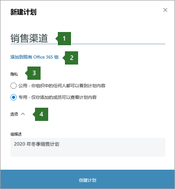 """Planner 新计划"" 对话框的屏幕截图, 显示输入 ""销售渠道"" 的标注, 2 个选项 ""添加到现有 Office 365 组"", 3 个 ""隐私选项"" 和 ""4 个选项"" 下拉列表。"