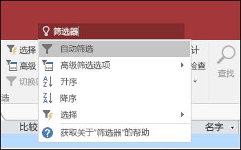 """显示在 Access 的功能区上的""""告诉我""""字段中输入的查询"""