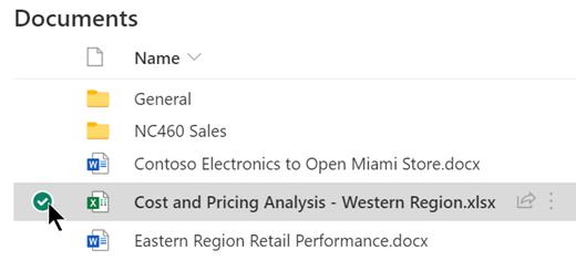 在文档库中选择SharePoint项。