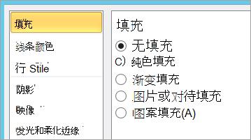 选择文本框中的无填充颜色
