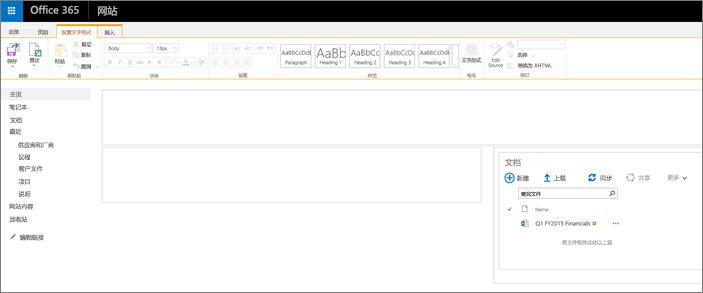 仅包含文档库的团队网站页面。