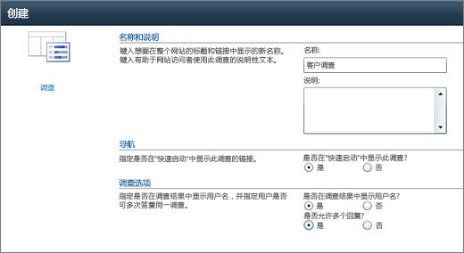 SharePoint 2010 调查选项页面