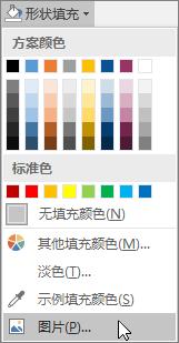 "Publisher 中""格式""选项卡上""形状填充""中的""图片填充""选项的屏幕截图。"