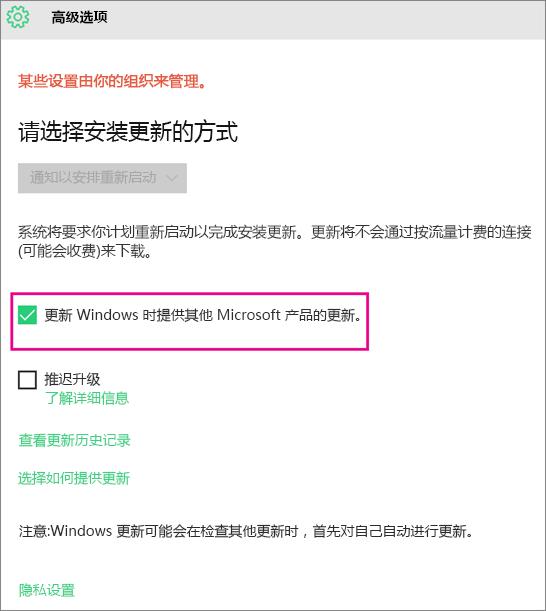Windows 更新高级选项