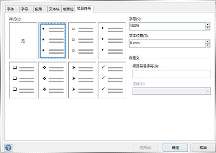 """Visio 中具有不同项目符号样式的""""项目符号""""选项卡。"""