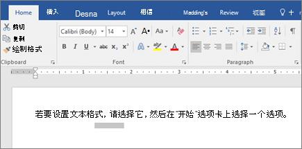 Word 功能区文本格式设置选项