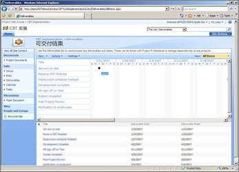 显示项目可交付结果列表的 SharePoint 网站