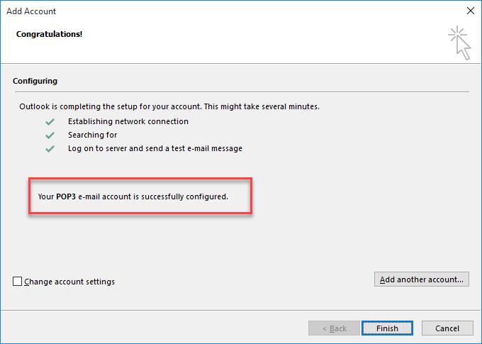 Outlook 将帐户添加为 POP