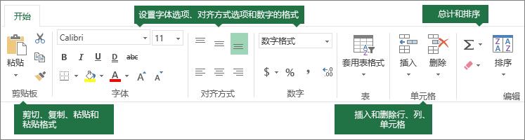 """""""开始""""选项卡,包含剪切、复制、粘贴、粘贴格式按钮;格式设置选项,如字体、对齐和数字格式;插入行/列;求和及排序"""