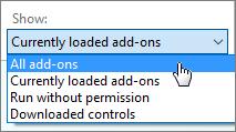 管理加载项对话框中显示的当前加载的加载项下拉列表。