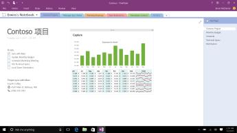 带 Contoso Project 页面的 OneNote 笔记本,页面上显示待办事项列表和每月费用总览条形图。