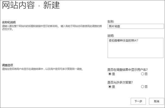 填充包含文本框的新建调查对话框。