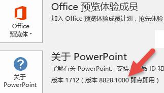 """显示""""关于 PowerPoint""""按钮旁的版本号和内部版本号的屏幕截图"""