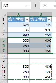 下表中的数据粘贴扩展以将其包含的表