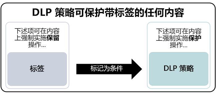 使用标签作为条件的 DLP 策略图表