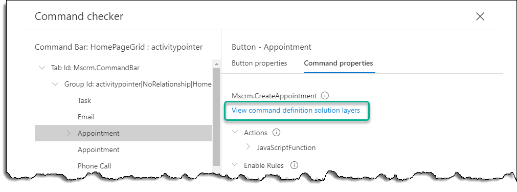 Command Checker - Appointment - Command - View Solution Layers