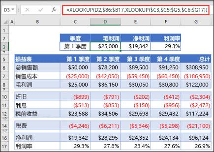 用于通过嵌套两个 XLOOKUPs 从表格中返回水平数据的 XLOOKUP 函数的图像。 公式为:=XLOOKUP (D2,$B 6:$B 17,XLOOKUP ($C 3,$C 5:$G 5,$C 6:$G 17) )