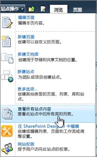 在网站操作菜单上查看所有网站内容