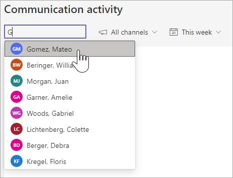 """显示在""""学生搜索""""框中搜索字母 G 后显示的学生名单的屏幕截图。 左侧显示的其他下拉列表包括频道和时间范围"""