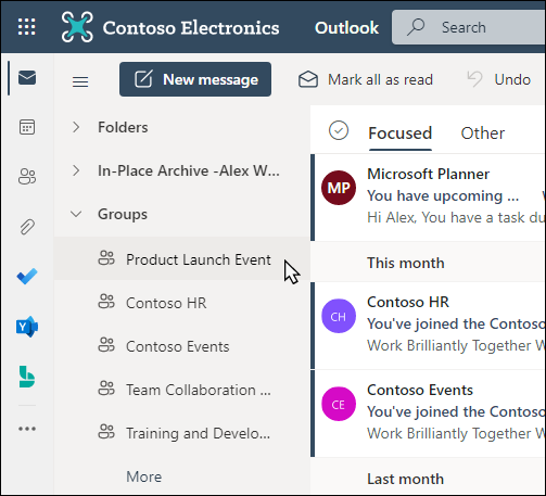 Outlook 中的 Office 365 组