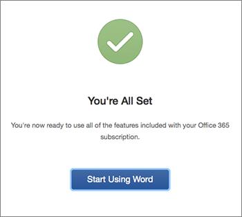 """屏幕显示""""全部完成""""和""""开始使用 Excel""""按钮"""