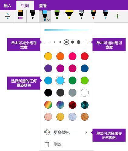 墨迹笔划宽度和颜色选项,在 OneNote for Windows 10