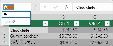 编辑栏左侧的 Excel 地址栏