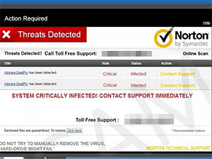 Screen shot of the Norton by Symantec scam,