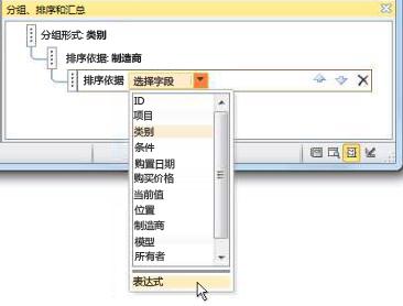 """在""""分组、排序和汇总""""窗格中选择表达式选项。"""
