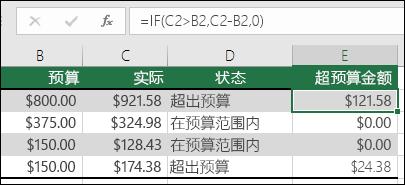 """单元格 E2 中的公式是 =IF(C2>B2,C2-B2,"""""""")"""