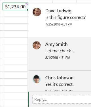 """单元格内容为 $1,234.00,附加线程批注:""""Dave Ludwig:这个数字正确吗?""""""""Amy Smith:让我查以下...""""等等"""