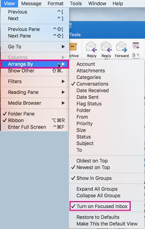 排列方式与核心收件箱突出显示打开的视图菜单