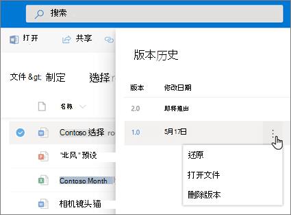 """在 OneDrive for Business 中通过""""详细信息""""窗格中的版本历史记录(新式体验)还原文件的屏幕截图"""