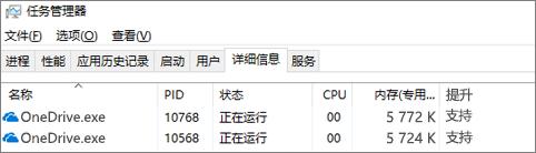 显示 OneDrive 的任务管理器屏幕截图