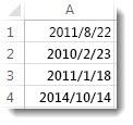 工作表中未排序的日期