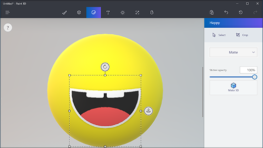 Using the sticker tool in Paint 3D