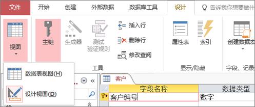 """在""""数据表""""视图和""""设计""""视图间切换""""表设计器"""""""