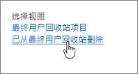 """突出显示""""从用户删除""""的 SharePoint 2013 回收站"""