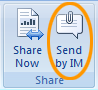以 Lync 2010 即时消息附件的形式发送打开的 Office 文档