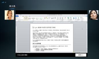 """显示""""实际大小""""选项的程序共享会话的屏幕截图"""