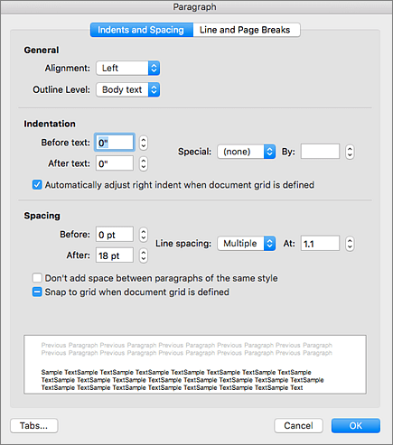 """""""段落""""对话框的屏幕截图"""