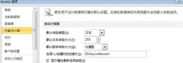 access 选项表设计设置
