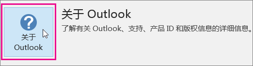 """选择""""关于 Outlook""""框。"""