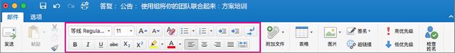 Outlook for Mac 功能区上的格式设置选项